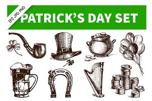 Patrick's Day Hand Drawn Vintage Set