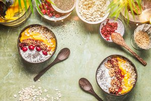 Breakfast smoothie bowl with topping