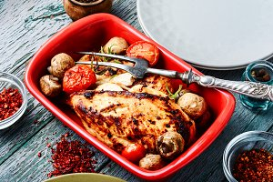 Chicken breasts in baking dish
