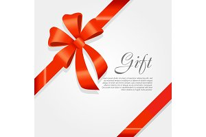 Gift. Red Wide Ribbon. Bright Bow