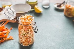 Raw carrot cabbage salad in jar