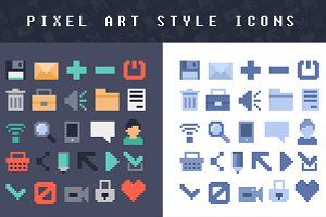 Pixel art style vector icons
