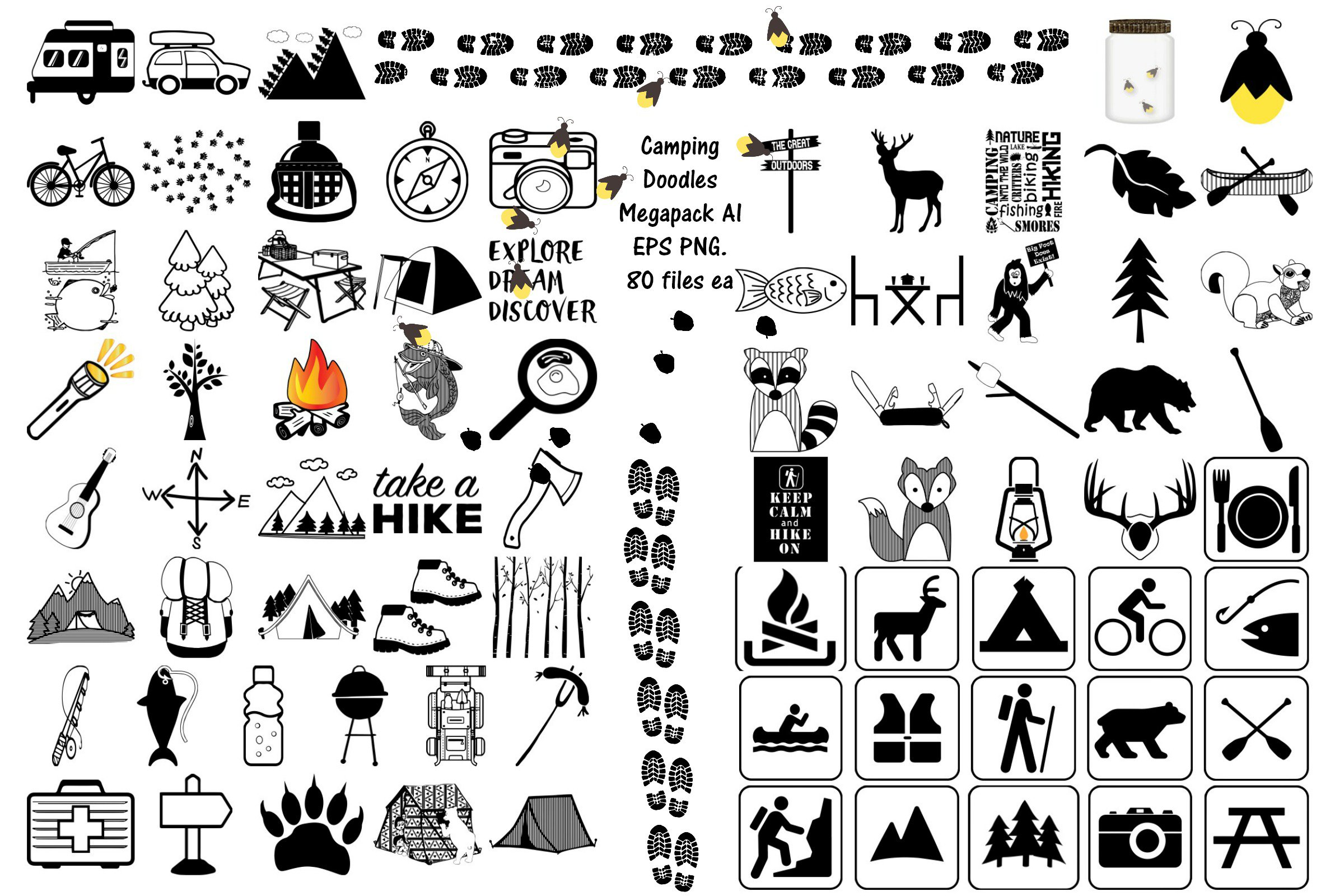 Camping Doodle/Silhouette AI EPS PNG ~ Illustrations