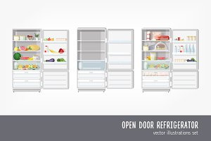 Fridge with food and empty