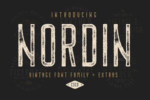 Nordin Vintage Font Family + Extras