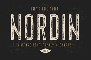 Nordin Vintage Font Family + Extras