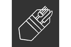 Fork and knife in napkin chalk icon