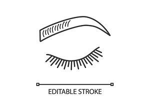 Microblading eyebrows linear icon
