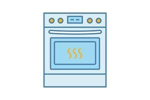 Kitchen stove color icon
