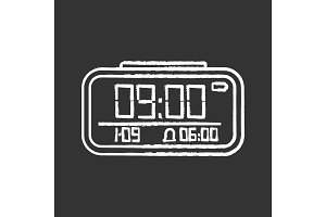 Digital alarm clock chalk icon