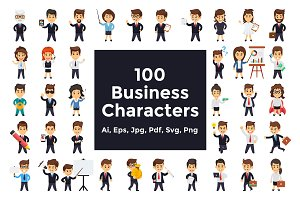 100 Flat Business Characters Vector