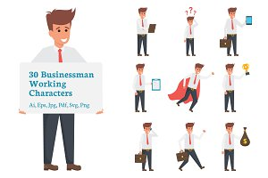 30 Businessman Working Character