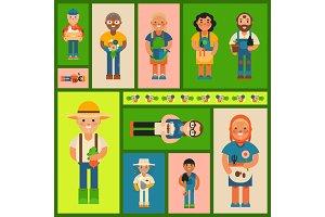 Happy farmers vector illustration