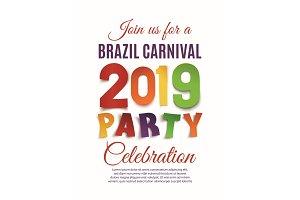 Brazil Carnival 2019 party poster