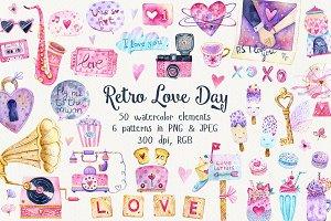 Watercolor Retro Love Day Set