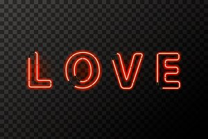 LOVE word made up from red neon