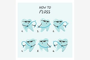 How to floss cartoon infographic