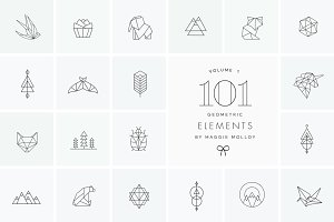 101 Geometric Logo Elements EPS PSD