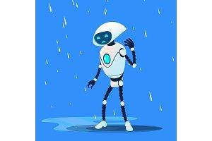 Sad Brocken Robot On Rain Vector