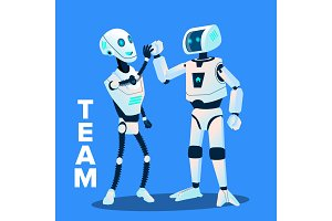 Team, Two Robots Give Five To Each