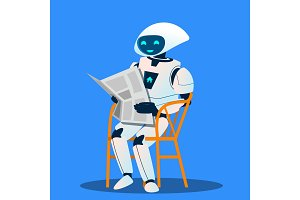 Robot Resting On Chair And Reading
