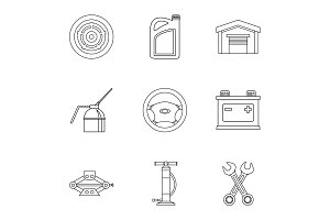 Car repairs icons set, outline style