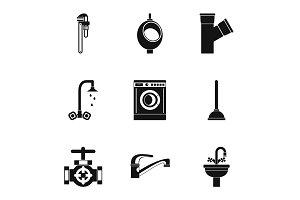Equipment for bathroom icons set