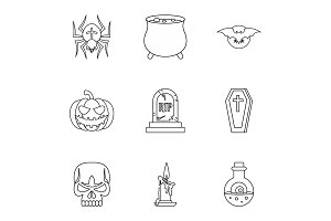 Halloween holiday icons set, outline