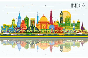 India City Skyline with Color