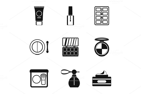 Face care icons set, simple style