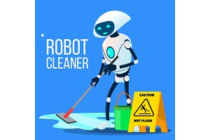 Robot Cleaner Washing The Floor With
