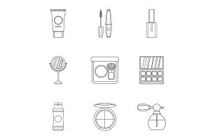 Cosmetic products icons set, outline