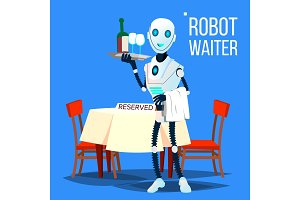 Robot Waiter Holding Tray With
