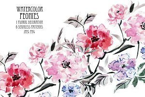 Watercolor Peonies Floral Decoration