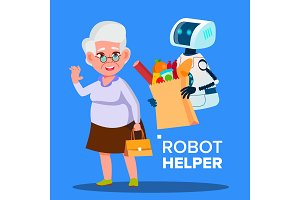 Robot Helper Carrying Cart With