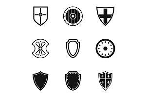 Military shield icons set, simple