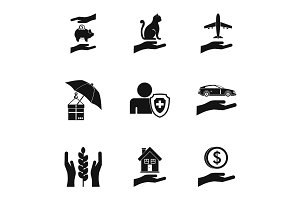 Protection icons set, simple style