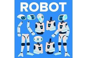 Robot Vector. Animation Creation Set