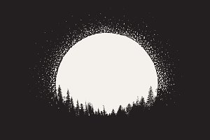forest on moonrise background