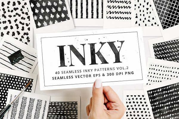 Inky Seamless Vector Patterns Vol2
