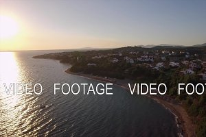 Aerial view of sea and shore with