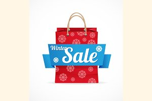 Vector Christmas sale red paper bag