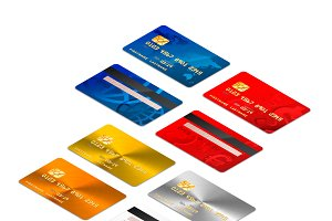 Credit cards in isometric projection