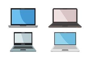 set of vector laptop