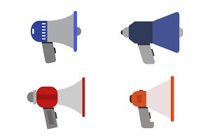 set of 4 vector megaphones