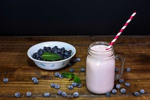 Blueberry smoothie with mint leaf