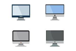 set of 4 vector computer monitor