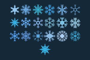 set of 19 vector snowflakes