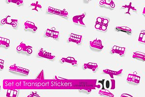 50 transport stickers