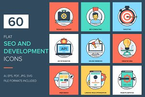 60 Flat SEO and Development Icons